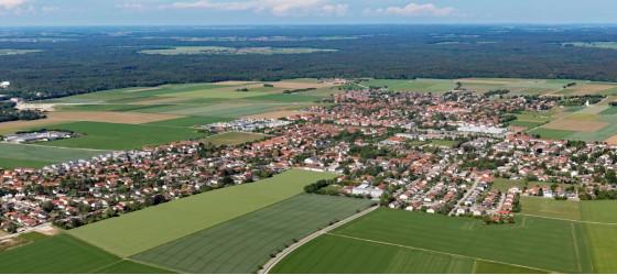 Luftaufnahme der Gemeinde Höhenkirchen-Siegertsbrunn